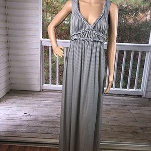 Max Studio Gray and White Stripe Maxi Dress